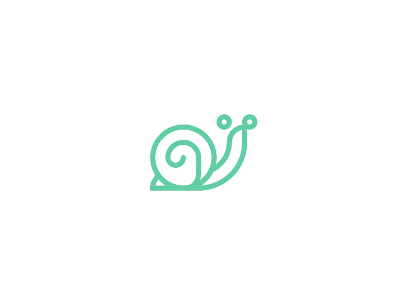 Snail logo molluscs animal icon curves eyes slow shell identity brand logo snail
