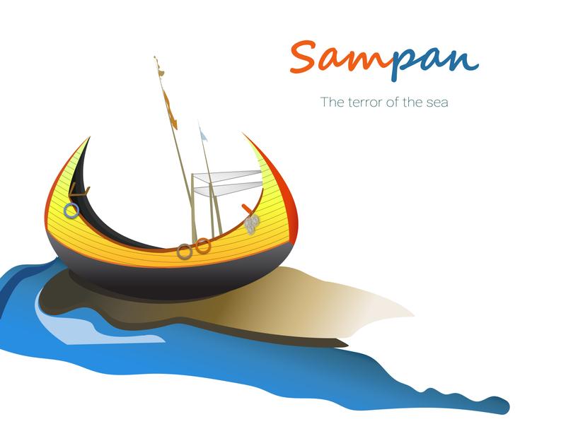 Sampan minimal fishing sea coxs bazar illustration fishing boat sea boat sampan dibbble shot boat