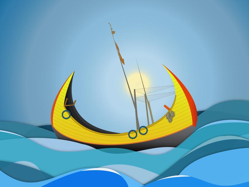Sampan dibbble shot minimal illustraion sea fishing boat boat