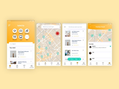 SafeCity - Design Sprint Project app ux ui design