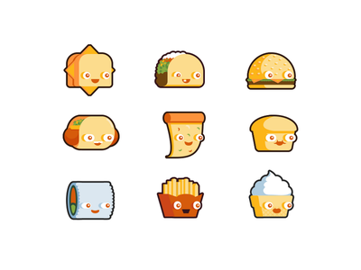 Grilly The Cheese & Friends game grilly the cheese sandwich food taco burger sushi cute character