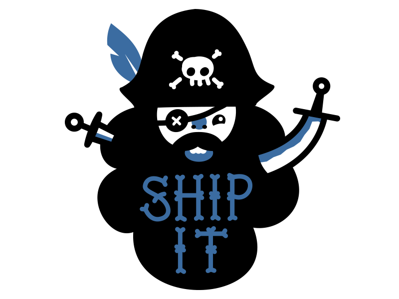 Happy bossy pirate illustration pirate happy cute sword knife feather skull eyepatch type jolly roger