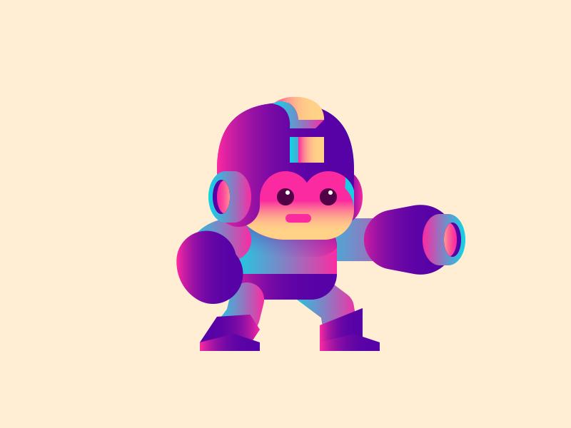 Mega Turd cartoon cute gradient colorful simple gaming retro nes megaman game nintendo