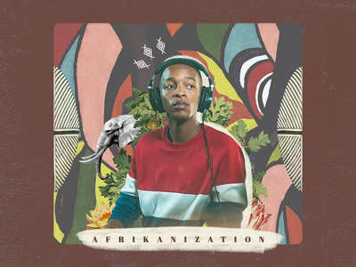 Afrikanization project design jazz colors music botanical album album cover culture afrika illustration collage digital collage artwork