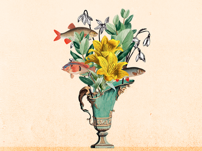 Vase tshirt papercut printing print fish flowers botanical vase illustration collage art collageart collage artwork
