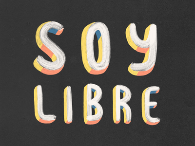 Soy Libre digital art 3d black drawing clean art colors typography illustration