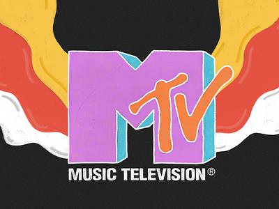 MTV branding brush digital illustration logo design mtv colors