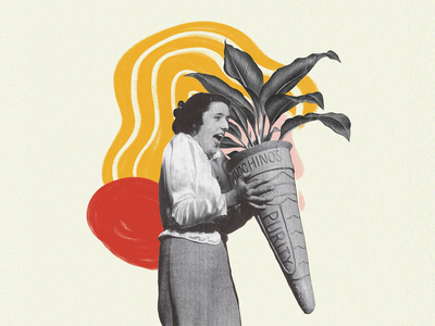 Plant Ice Cream illustration print artwork collage