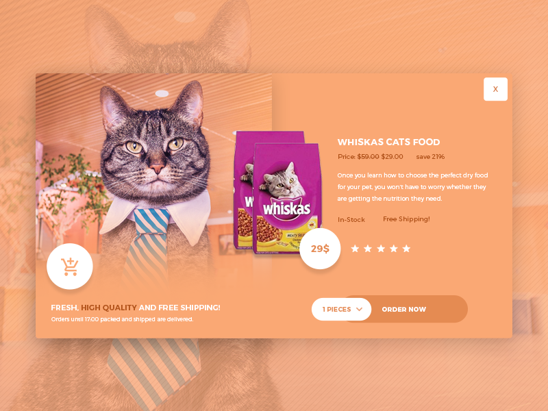 CatFood free modal design free ecommerce modal free psd modal design