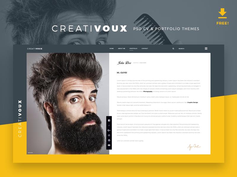 CreatiVoux - Free Psd CV & Portfolio Theme free portfolio design free psd theme free psd portfolio free cv theme psd