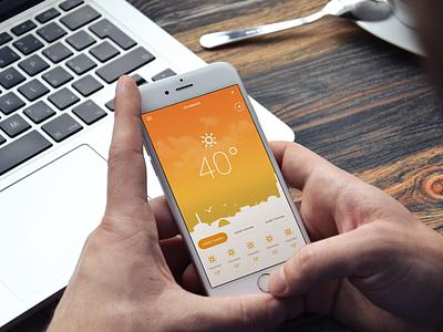 Weather Mobile App Design #2 ux ui mobile ui weather app sun iphone flat design flat bad weather app