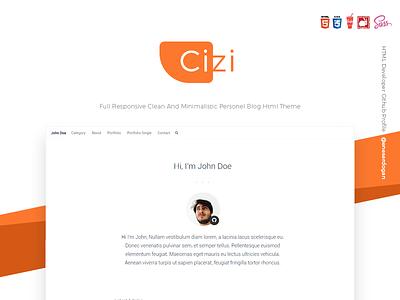 Cizi - Clean And Minimalistic Personel Blog Theme free free html html theme minimal theme personel blog cv minimal clean