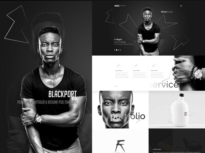 BlackPort - Personal Portfolio & Resume PSD Template resume portfolio photograph personal fashion designer clean black