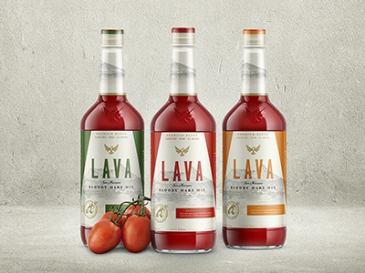 LAVA bloody mary farm design volcano emboss logo label bottle cocktail