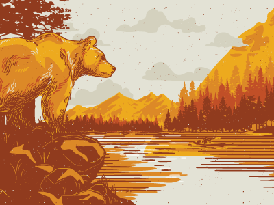 Bivouac Ciderworks Harvester's Hitch Illustration lake hiking bear illustration beach california outdoors cider