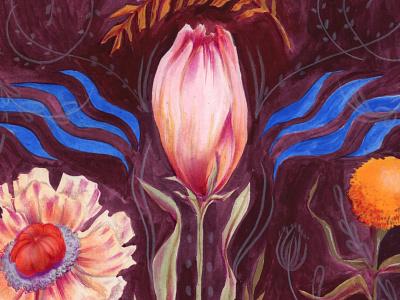 Spring mixedmedia flowers floral illustration