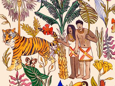 Rainforest illustration art mixed media gouache illustration