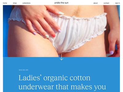 undie the sun landing page modern elegant conscious product photography hero typography women minimal web design animation underwear website landing ux ui