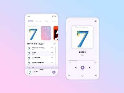 Daily UI #009 - Music Player bts musicplayer player music dailyinspiration uidesign dailydesign userinterface interfacedesign ui mobile designui design dailyuichallenge dailyui 009 dailyui daily concept challenge app