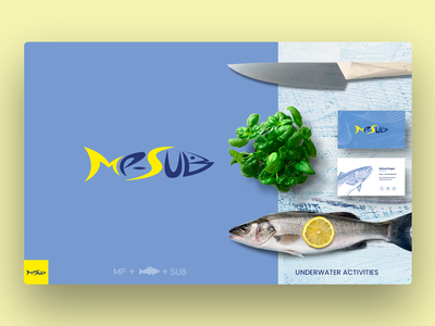 Logo Design Mp-Sub - Undewater Activities underwater fishing submarine photoshop illustrator logo design