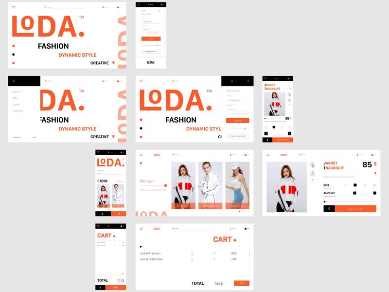 LODA  Fashion interface interaction design ui flat graphic design design