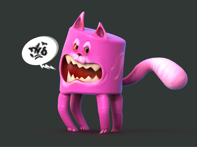 Angry Cat - The little Devil TOYS game keyshot zbrush toy design art illustration stylized chibi cute cats angry pink cat