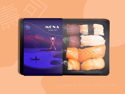 Sushi box landscape lake sushi package design landscape packaging illustration design