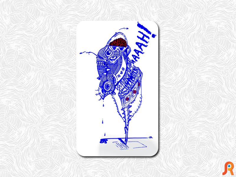 suicide pen ink interior demon pen suicide illustration design