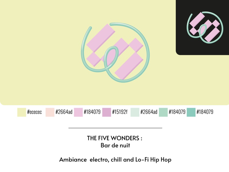 "THE FIVE WONDERS - Bar de nuit ""Chill"" concept illustrator branding logo"