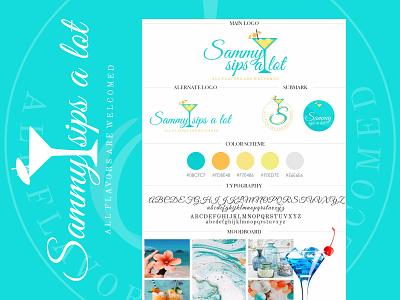 Sammy Sips a Lot - Logo Design branding concept colorful logo handwritten logo handwrittenfont summer colors drinks blue icon logo brand identity logodesign branding