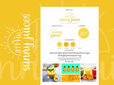 Sunny Juices - Custom Logo Design yellow logo vector logo custom logo logo design juice logo colorful logo brand identity