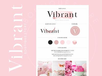 Vibrant Boutique - Logo Design custom branding custom logo design elegant logo pink logo store logo logo