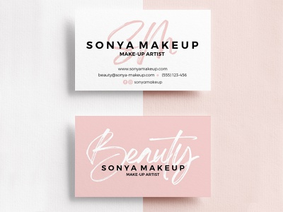 Business Card Design - Sonya Makeup logodesign design business pinkbusinesscard businesscarddesign custombusinesscard businesscard