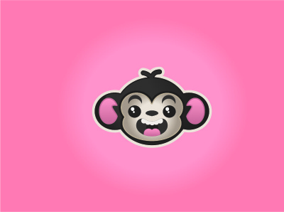 monkey logo flat vector illustration