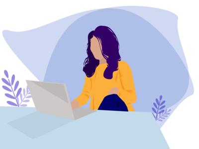 woman at work - Remote Working ux web flat minimal vector branding illustration