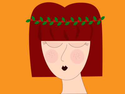Christmas woman red holly woman christmas minimal web vector flat illustration