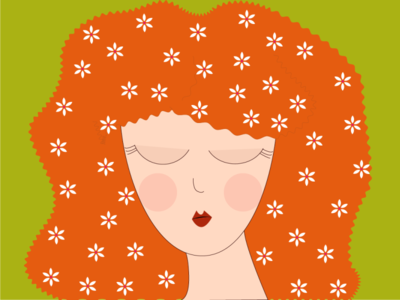 flower girl flower illustration orange palette girl flower design web minimal flat vector illustration