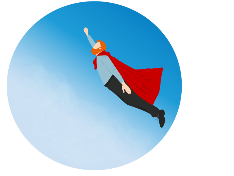 Superman - businessman flies hero fly businessman management web minimal flat vector illustration