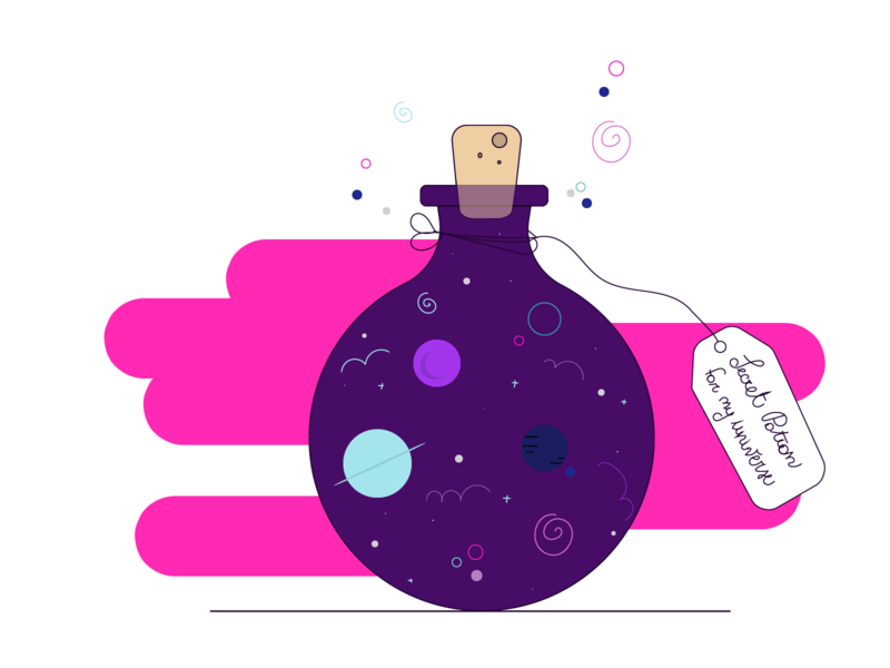 Secret Potion for my own universe potion pot universe design web minimal flat vector illustration