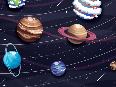 Planets for days.... stars meteorites solar system galaxy vector hand drawn illustrator