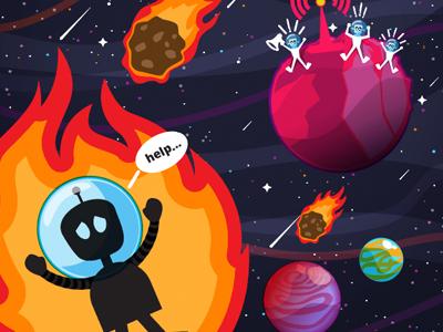 Poster stars meteorites solar system galaxy vector hand drawn illustrator