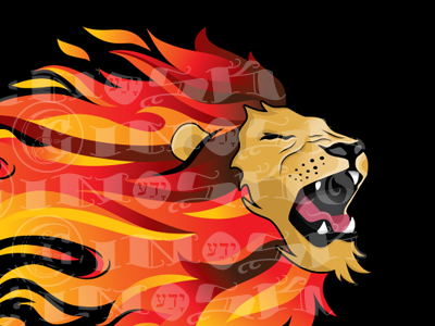 Flaming Lion handdrawn handmade fire flames lion vector illustrator