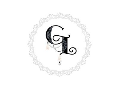 Gray Lace Photography Logo romantic vintage illustrator logo hand-drawn custom lettering custom typography custom type lace