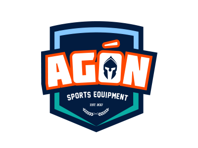 Agon Sports Equipment illustrator light blue teal blood orange navy fight the good fight vector harvest walk of faith shield