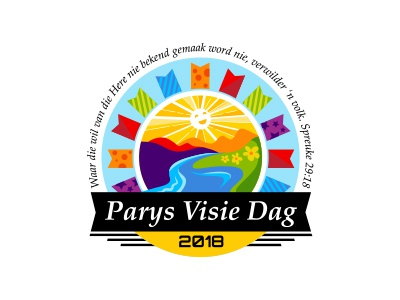 Parys Visie Dag Festival Logo south africa afrikaans flowers river bunting handrawn handmade vector colorful festival logo illustration illustrator