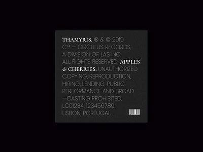 Thamyris — Apples & Cherries typography type music album cover art cover single branding graphic design