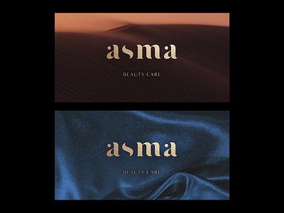 Asma branding logo graphic design blue gold algeria beauty care care beauty asma
