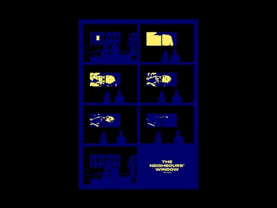 The Neighbours' Window collage yellow blue window neighbours comic illustration graphic design