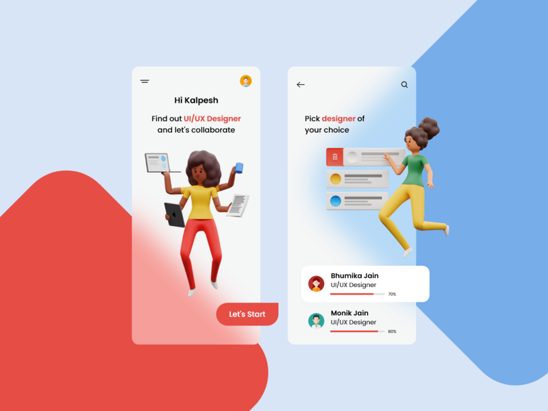Trending Mobile application - UI/UX Design 3d illustration 3d trending ui popular designer uidesign ui  ux ui mobile design mobile ui mobile app minimal illustraion design 2020 creative concept colors clean character agency adobe xd