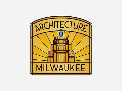 Architecture Milwaukee skyscraper rays window city branding logo art deco building milwaukee architecture